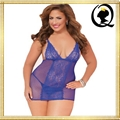 Strappy Halter Seductive Lingerie Plump Ladies Plus Size Lace Sheer Babydoll