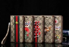 Hot selling  New model embroidery Gucc leather cover case for iphone