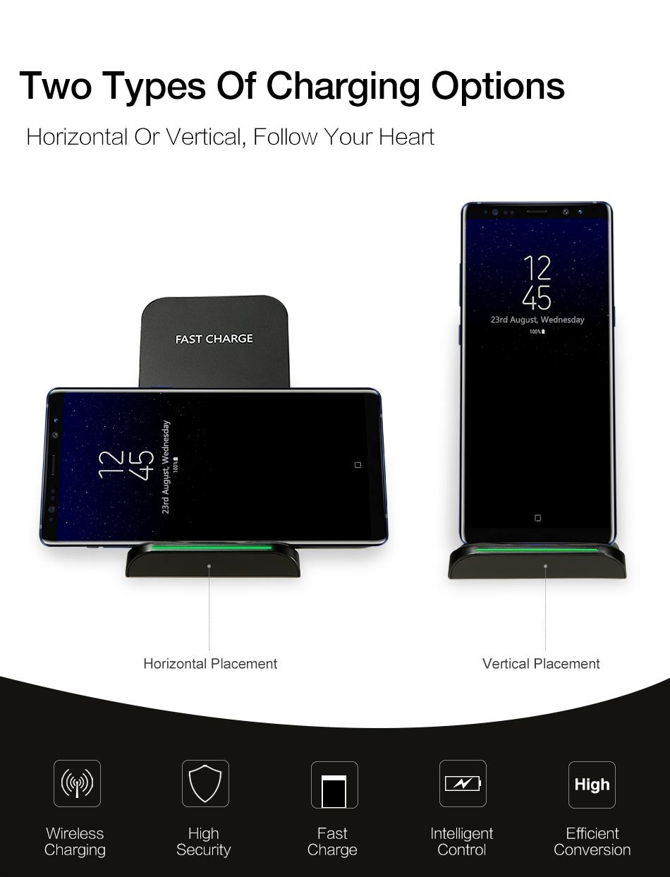 QI Wireless Charger For iPhone X Smart IC Wireless Fast Charger Phone Holder 3