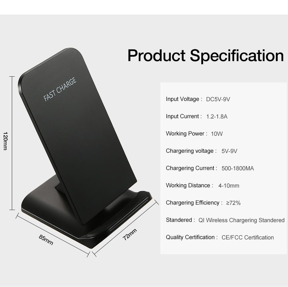 QI Wireless Charger For iPhone X Smart IC Wireless Fast Charger Phone Holder 5