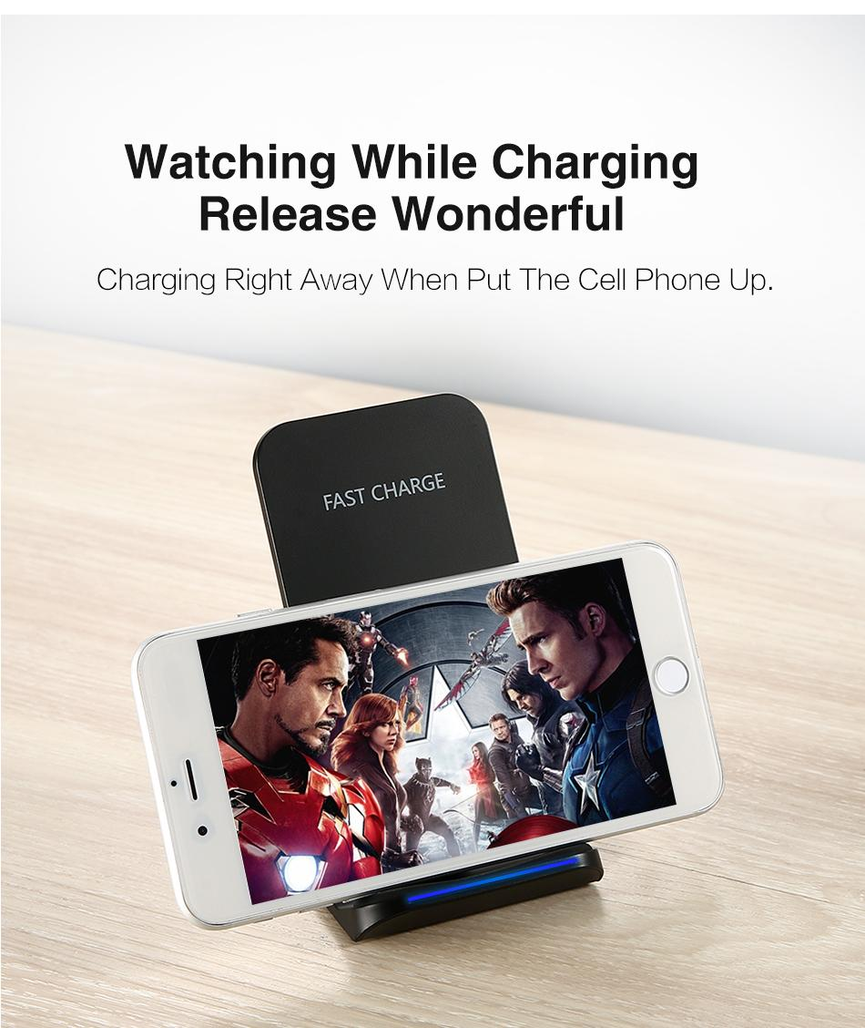 QI Wireless Charger For iPhone X Smart IC Wireless Fast Charger Phone Holder 10