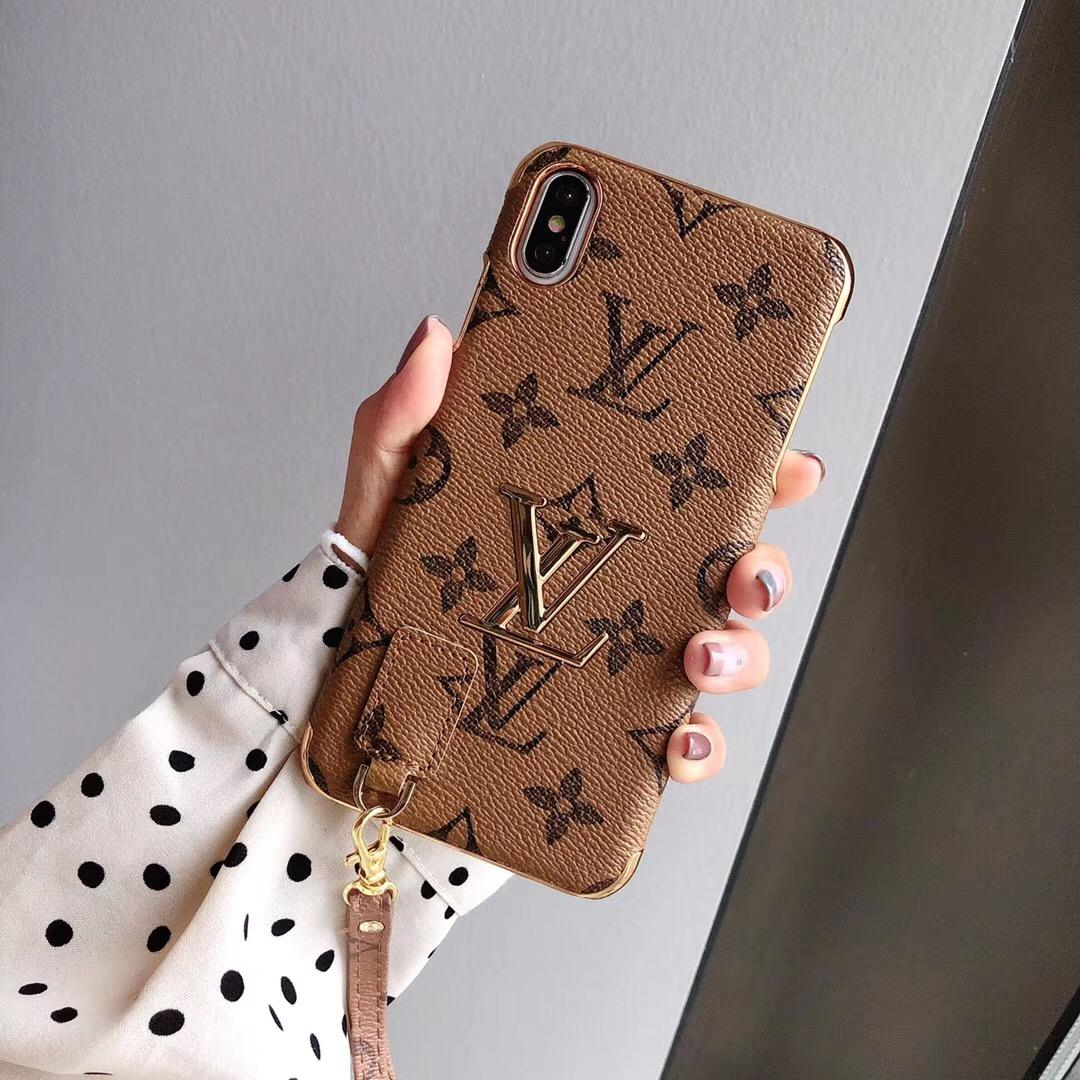electroplate leather with hang rope for iphone 11 pro max xs max xr x 8 8plus 5