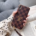 LV electroplate leather with hang rope for iphone xs max xr x 8 8plus 7 7plus