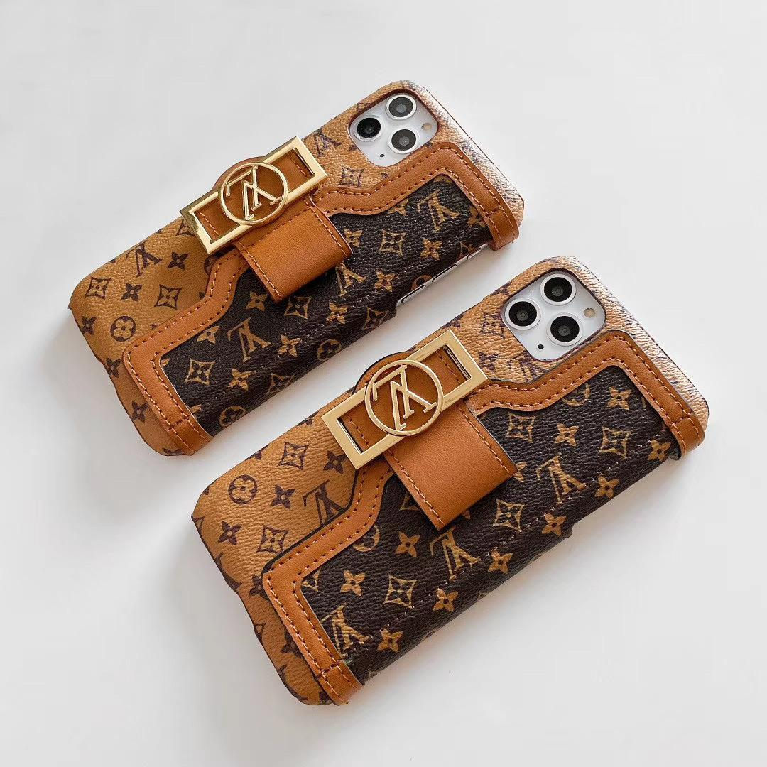 leather case with card bag new logo for iphone 11 pro max xs max xr x 7 8plus 4
