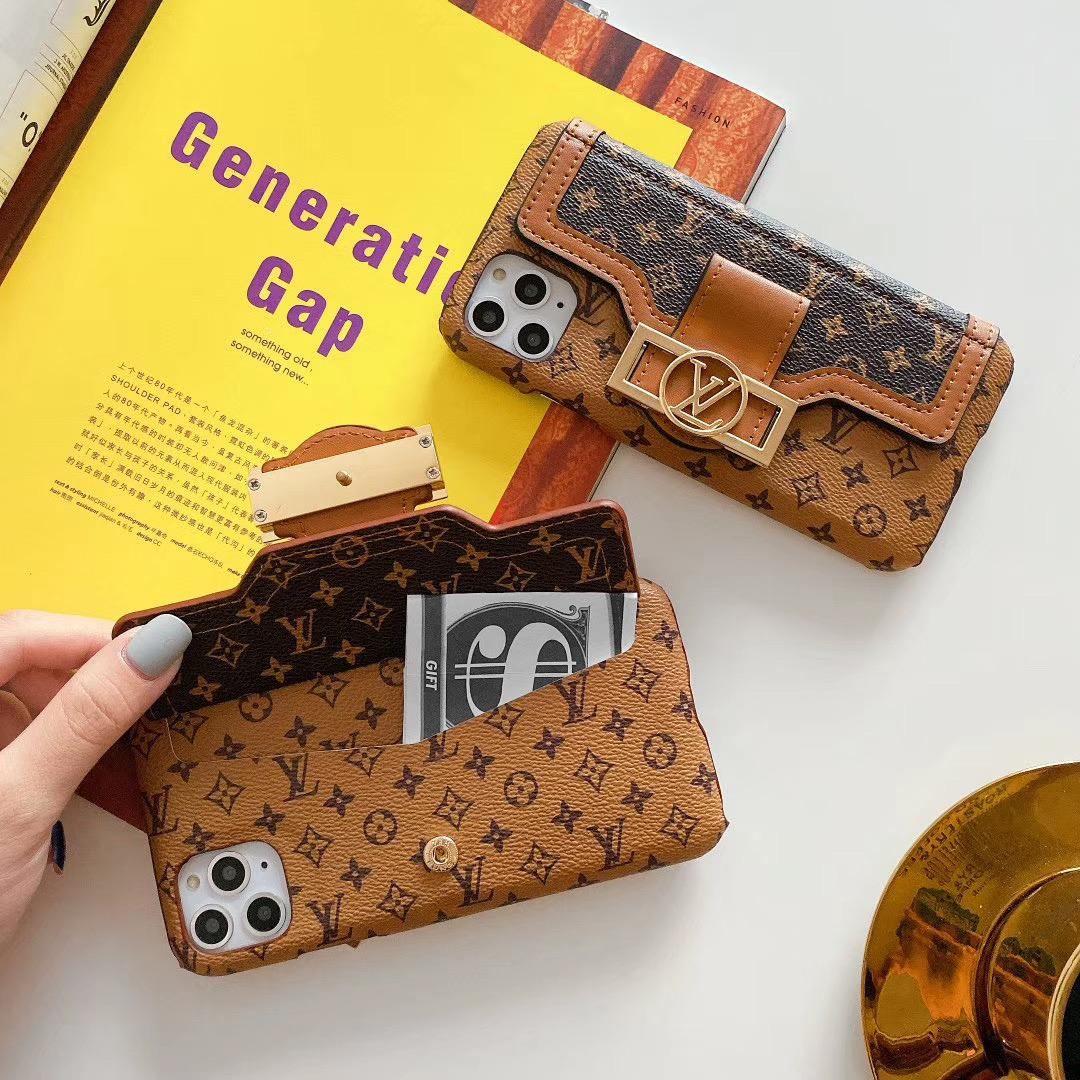 leather case with card bag new logo for iphone 11 pro max xs max xr x 7 8plus 5