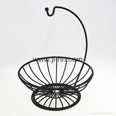 Kitchen accessory Black copper Metal Wire Fruit Basket with Banana Holders