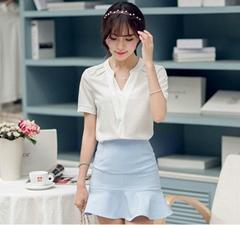 Women's Elegant Slim Casual Short Sleeve Shirts Blouses