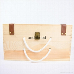 customized natural wood box portable wooden wine box