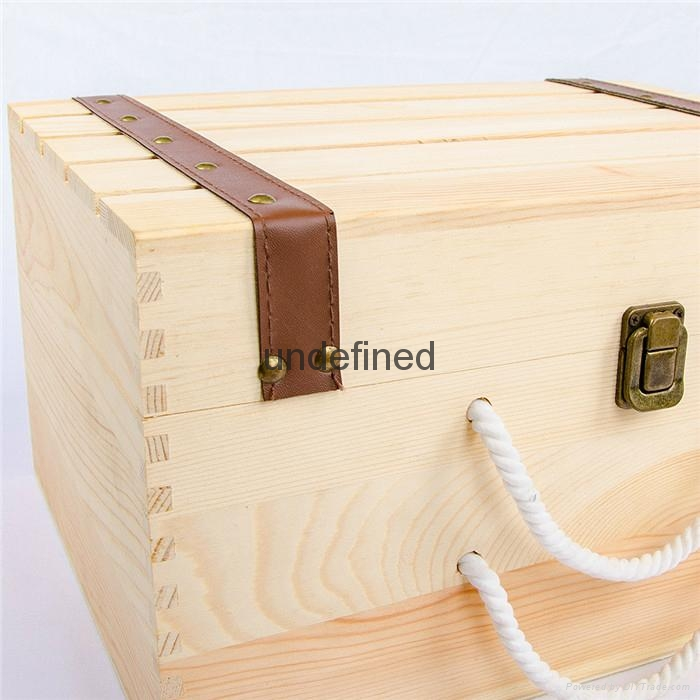 customized natural wood box portable wooden wine box 4