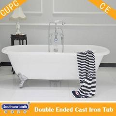 hot sale double ended cast iron bathtub