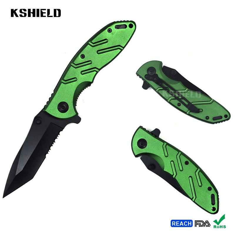 Custom Color Aluminum Handle Old Style Bamboo Pattern Pocket Folding Knives with 2
