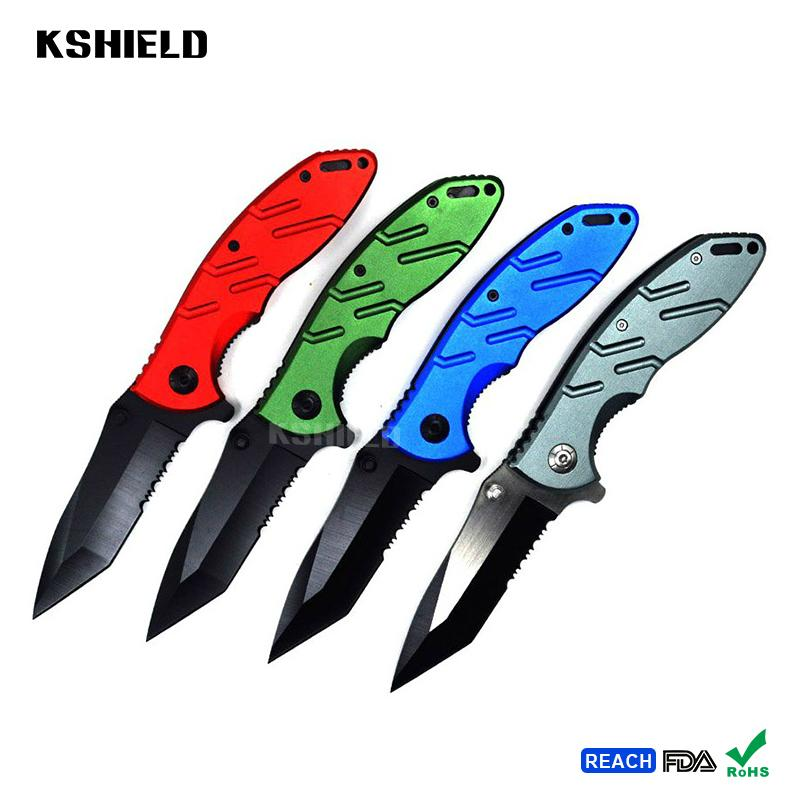 Custom Color Aluminum Handle Old Style Bamboo Pattern Pocket Folding Knives with 1