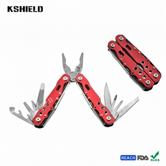 Red Aluminium Handle Stainless Steel Multi Tool Folding Pliers