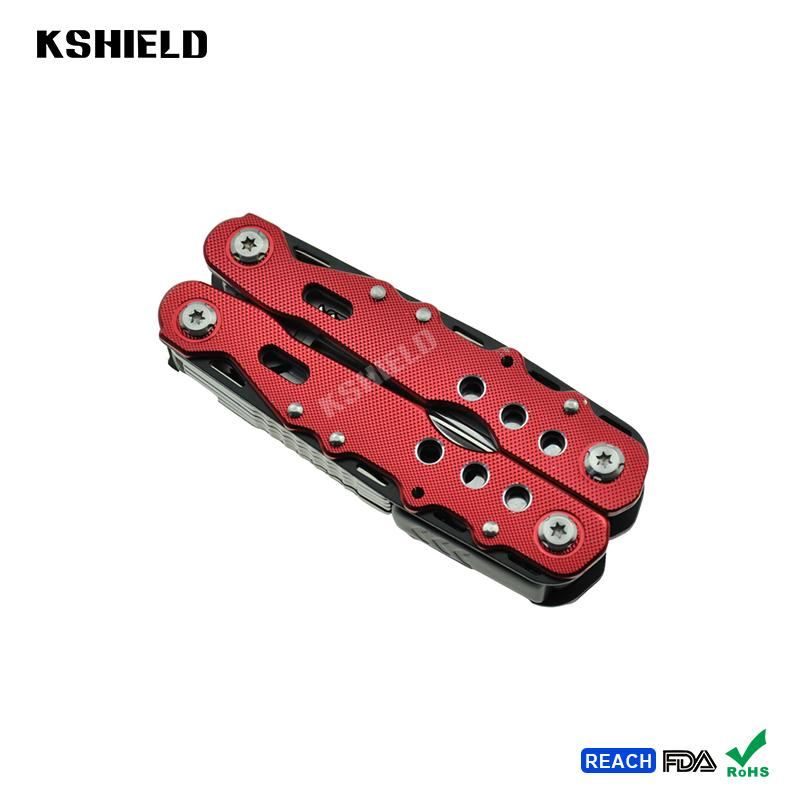 Red Aluminium Handle Stainless Steel Multi Tool Folding Pliers 4