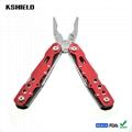 Red Aluminium Handle Stainless Steel Multi Tool Folding Pliers 5