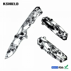 Full Colorful Printing Stainless Steel Folding Pocket Knife with Belt Clip