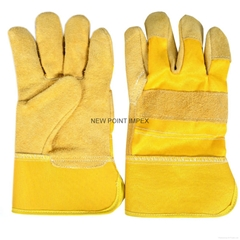 Working Gloves, Made of Split Leather, Rubber Cuff, Inside Lined