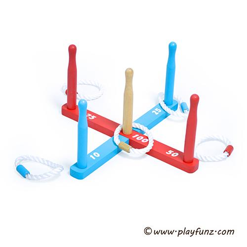 Outdoor Wooden Ring Toss Game Set Kids Games for Speed and Agility Practice Game 1