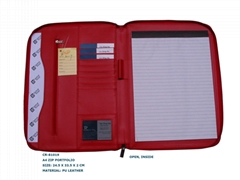 A4 Pu leather zip portfolio item: CR-81019