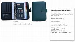 Agenda planner ring binder with calculator