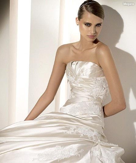 A-line Strapless Cathedral Train Satin Lace Beading Appliques Wedding Dress 1