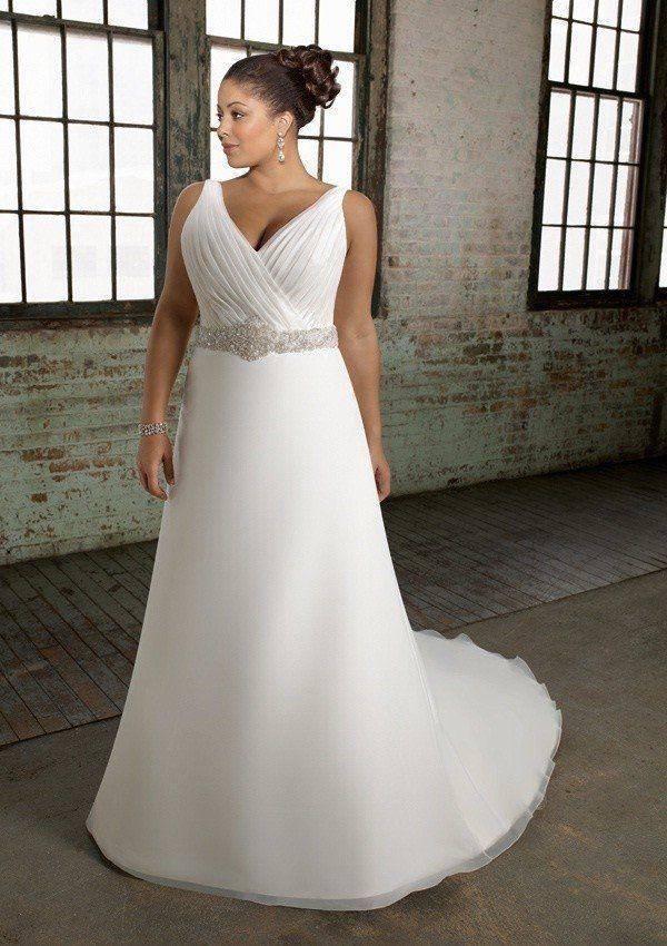 A-line V-neck Chapel Train Organza Over Satin Beading Plus Size Wedding Dress 2
