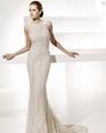 Glamorous Trumpet Mermaid Bateau Neck Chapel Train Lace Front slit Wedding Dress 3