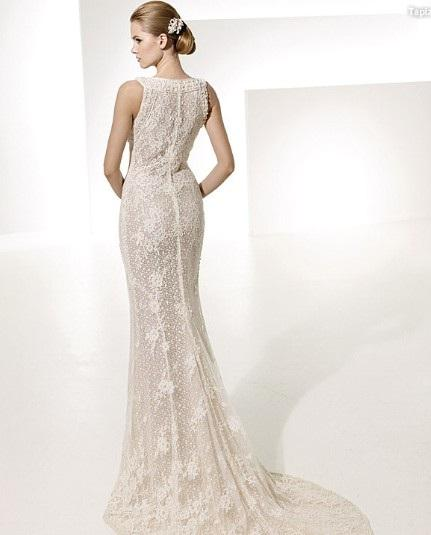 Glamorous Trumpet Mermaid Bateau Neck Chapel Train Lace Front slit Wedding Dress 2
