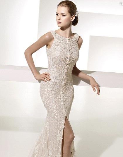 Glamorous Trumpet Mermaid Bateau Neck Chapel Train Lace Front slit Wedding Dress 1