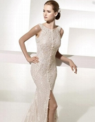 Glamorous Trumpet Mermaid Bateau Neck Chapel Train Lace Front slit Wedding Dress