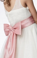 A-line Round Neck Tea-length Organza