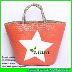 LDSC-102 fashionable beach bag white star painted straw tote bag
