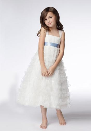 A-line Wide Straps Tea-length Organza Sequins Flower Girl Dresses 3