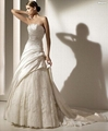 A-line Strapless Cathedral Train Satin Lace Beading Appliques Wedding Dress 2