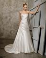 A-line Sweetheart Cathedral Train Satin Beading Ruffled Wedding Dress 2