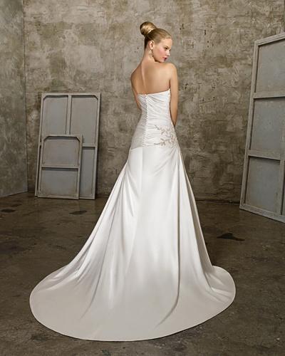 A-line Sweetheart Cathedral Train Satin Beading Ruffled Wedding Dress 1