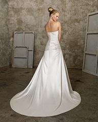 A-line Sweetheart Cathedral Train Satin Beading Ruffled Wedding Dress