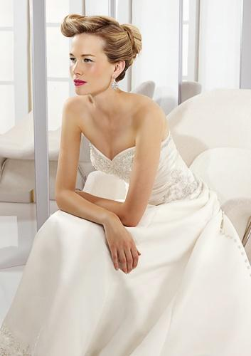 A-line Sweetheart Cathedral Train Satin Beading Wedding Dress supplier 1