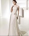 A line Bateau Neck Chapel Train Chiffon Beading Ruffled Wedding Dress 3