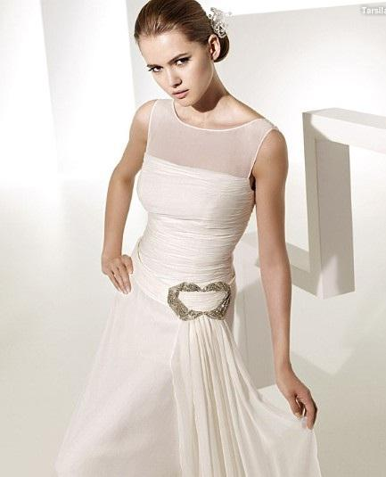 A line Bateau Neck Chapel Train Chiffon Beading Ruffled Wedding Dress 1