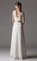 Sheath Column V-neck Floor-length Lace Wedding Dress 4