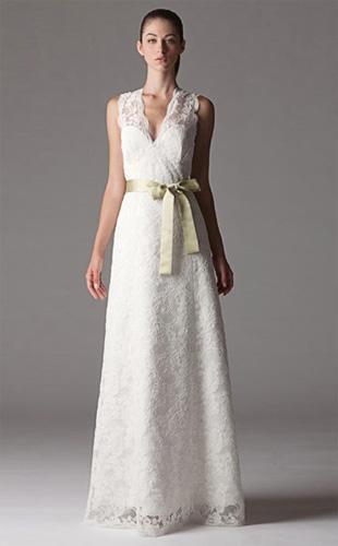 Sheath Column V-neck Floor-length Lace Wedding Dress 3