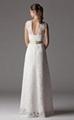 Sheath Column V-neck Floor-length Lace Wedding Dress 2