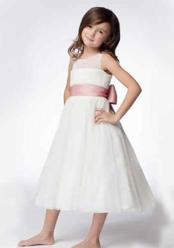 A-line Round Neck Tea-length Organza Ruffled Layers Flower Girl Dresses 4