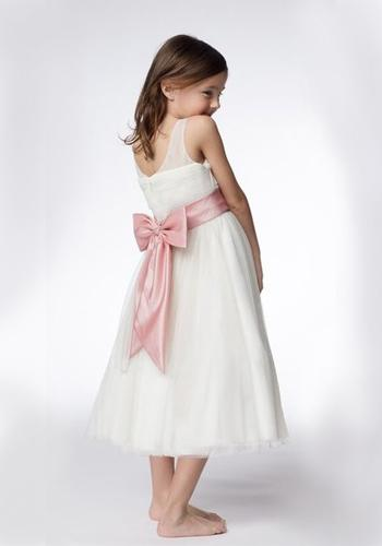 A-line Round Neck Tea-length Organza Ruffled Layers Flower Girl Dresses 2