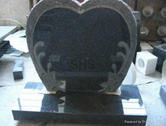 Black granite Tombstone with caving flower