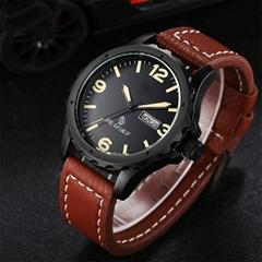 新款意大利真皮皮带日本进口石英机芯手表双日历手表批发