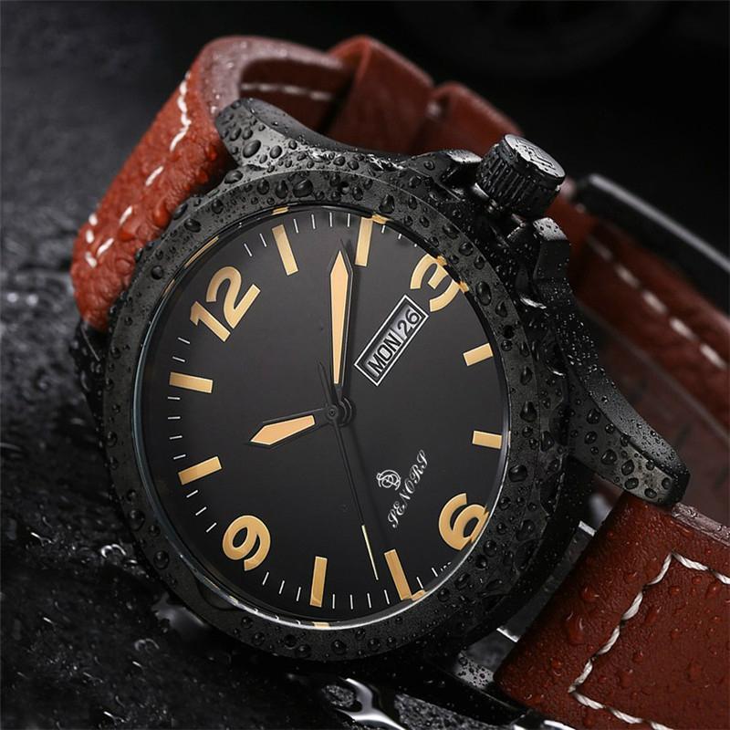 新款意大利真皮皮带日本进口石英机芯手表双日历手表批发 2