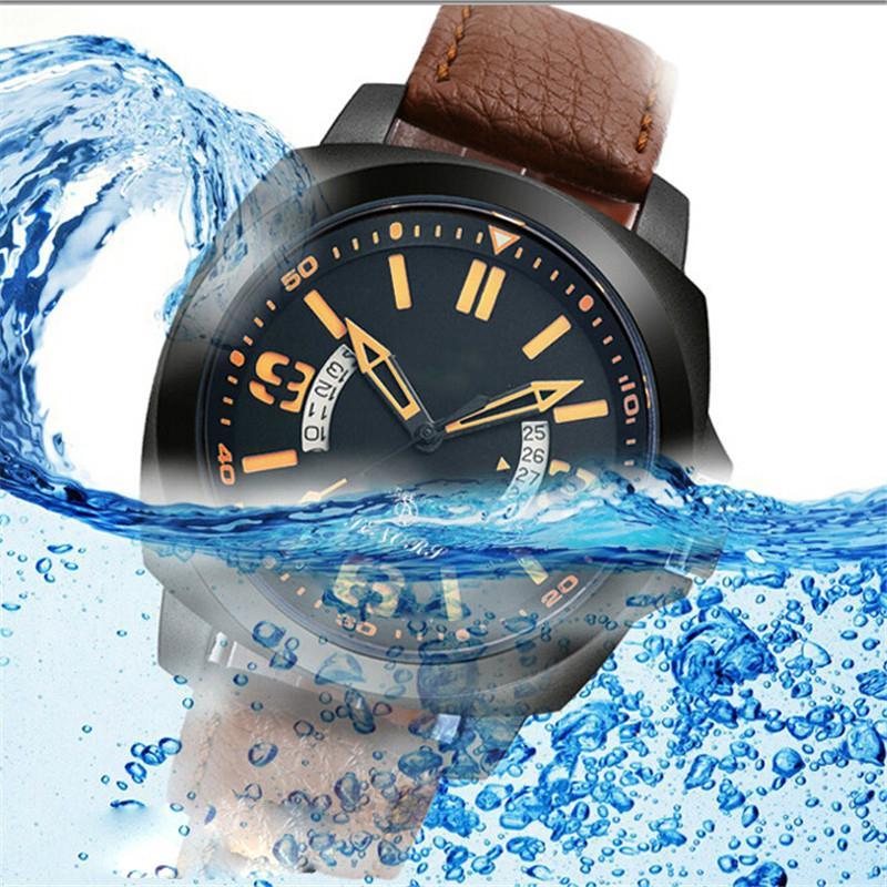 新款意大利真皮皮带日本进口石英机芯手表双日历手表批发 3