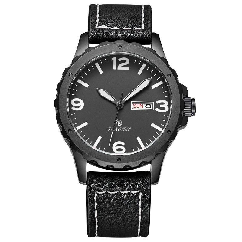 新款意大利真皮皮带日本进口石英机芯手表双日历手表批发 4
